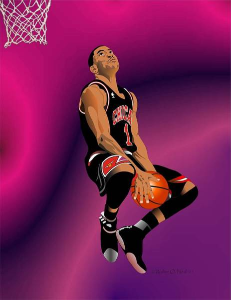Digital Art - Derrick Rose 3 by Walter Neal