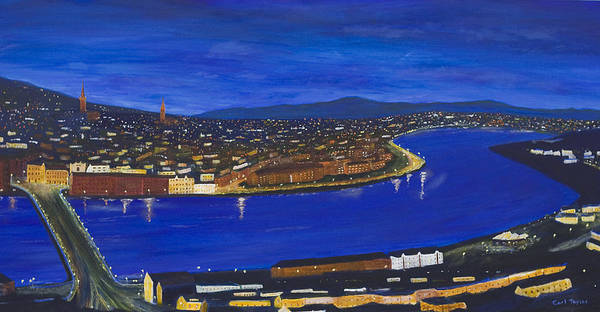Donegal Painting - Derry At Night by Carl Taylor
