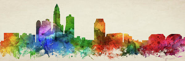 Wall Art - Digital Art - Des Moines Skyline Panorama Usiadm-pa03 by Aged Pixel