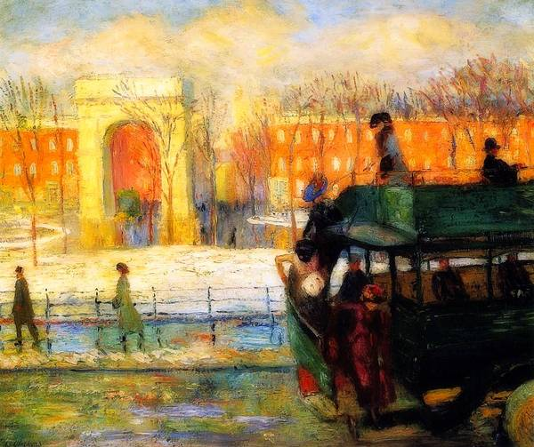 Wall Art - Painting - Descending From The Bus by William Glackens