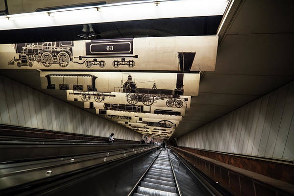 Photograph - Descending Into The Depths Porter Square Escalator by Toby McGuire