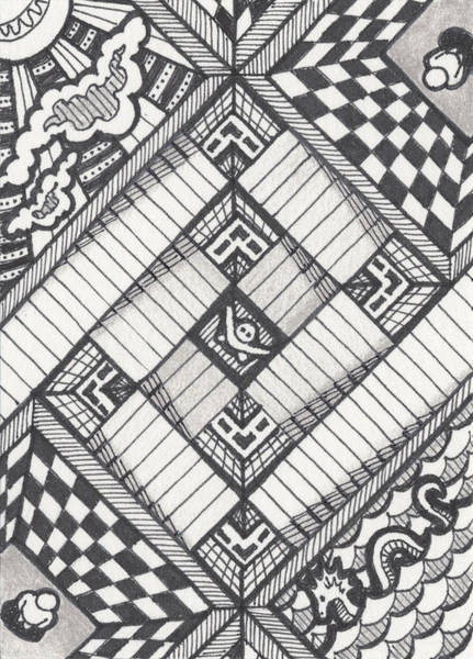 Zen Drawing - Descent by Amy S Turner