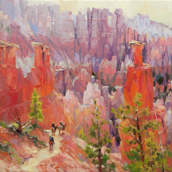 Horseback Wall Art - Painting - Descent Into Bryce by Steve Henderson