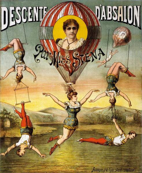 Wall Art - Mixed Media - Descente D'absalon Par Miss Stena - Aerialists, Circus - Retro Travel Poster - Vintage Poster by Studio Grafiikka