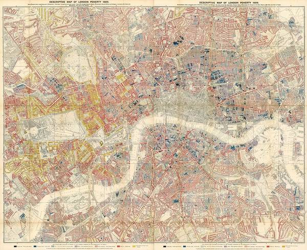 Wall Art - Drawing - Descriptive Map Of London Poverty - Data Visualization Map - Map Of London - Historic Map by Studio Grafiikka
