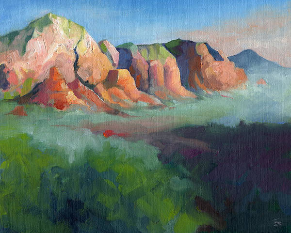 Sedona Painting - Desert Afternoon Mountains Sky And Trees by Catherine Twomey