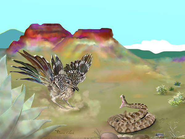 Roadrunner Painting - Desert Battle by Marie Clark