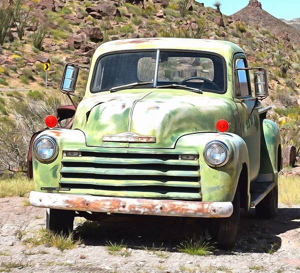 Old Chevy Truck Painting - Desert Camouflage By Mother Nature Digital by Barbara Snyder