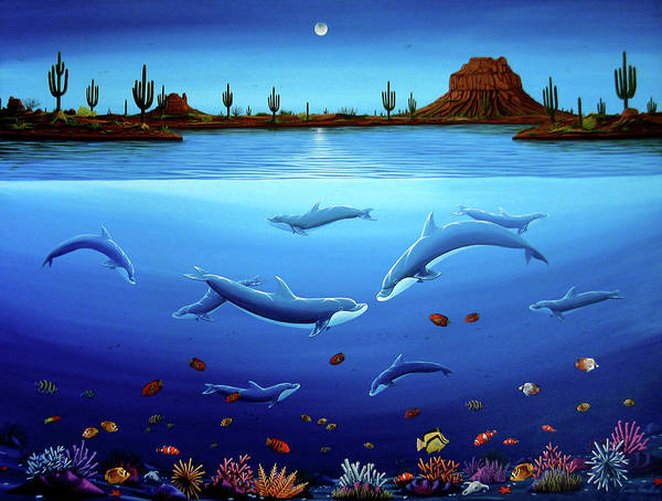 Painting - Desert Dolphins by Lance Headlee