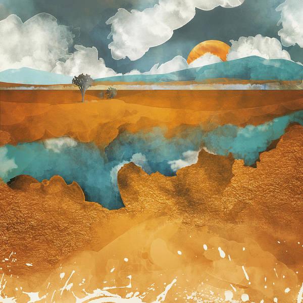 Reflections Digital Art - Desert Lake by Spacefrog Designs
