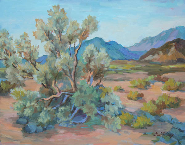 Wall Art - Painting - Desert Light Smoke Tree by Diane McClary