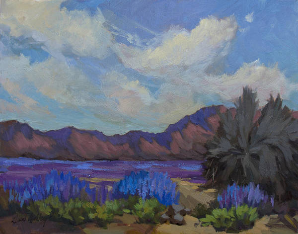 Wall Art - Painting - Desert Lupines In Bloom by Diane McClary