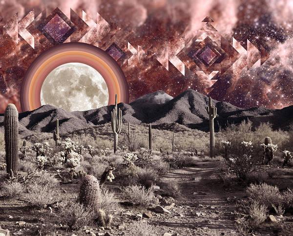 Aztec Digital Art - Desert Moonrise by Lori Menna