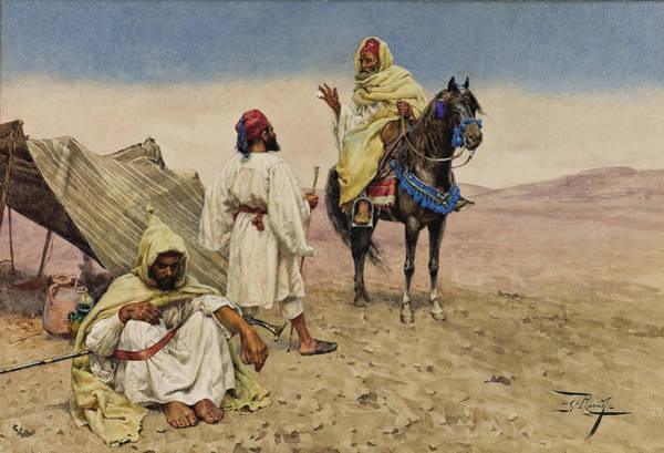 Nomad Drawing - Desert Nomads by Giulio Rosati
