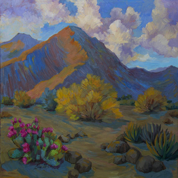 Wall Art - Painting - Desert Palo Verde And Beavertail Cactus by Diane McClary
