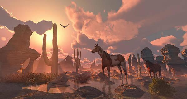 Digital Art - Desert Ponies by Mary Almond