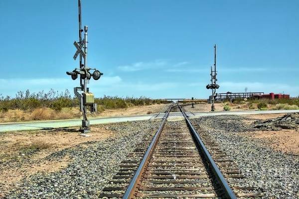 Desert Railway Crossing Art Print
