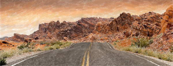 Valley Of Fire Painting - Desert Road - Id 16217-202733-2612 by S Lurk