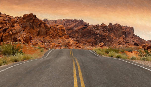 Valley Of Fire Painting - Desert Road - Id 16217-202736-4098 by S Lurk