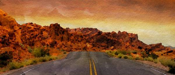 Valley Of Fire Painting - Desert Road - Id 16217-202746-1726 by S Lurk
