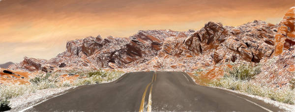 Valley Of Fire Painting - Desert Road - Id 16217-202750-4332 by S Lurk