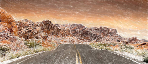 Valley Of Fire Painting - Desert Road - Id 16217-202751-8855 by S Lurk