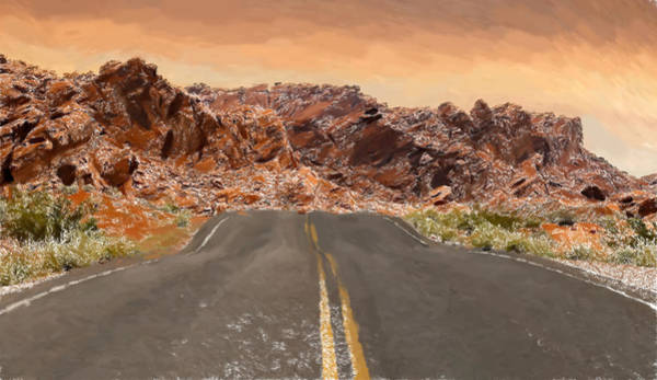 Valley Of Fire Painting - Desert Road - Id 16217-202752-3867 by S Lurk