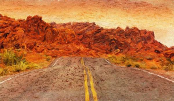 Valley Of Fire Painting - Desert Road - Id 16217-202803-4158 by S Lurk