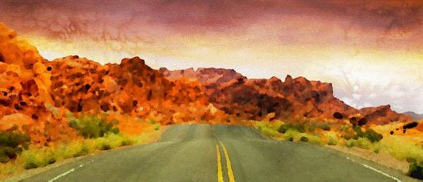 Valley Of Fire Painting - Desert Road - Id 16217-202803-9717 by S Lurk