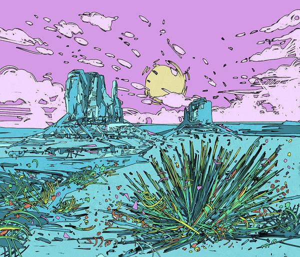 Southwest Digital Art - Desert Scene 2 by Bekim M
