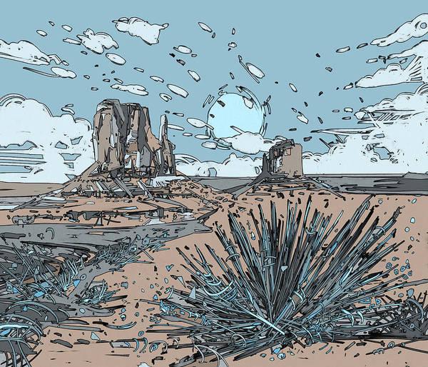 Southwest Digital Art - Desert Scene by Bekim M