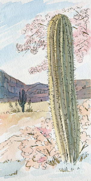 Painting - Desert Scene Two Ink And Watercolor by Marilyn Smith