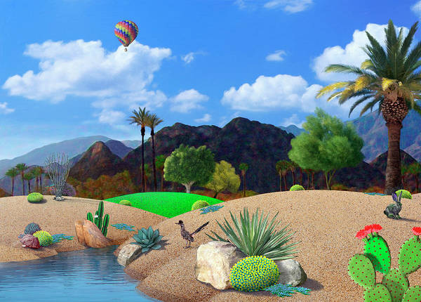 Hot Air Balloon Digital Art - Desert Splendor by Snake Jagger