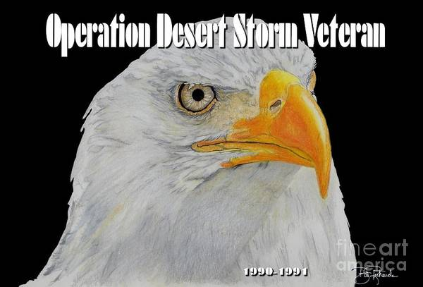 Drawing - Desert Storm Eagle by Bill Richards