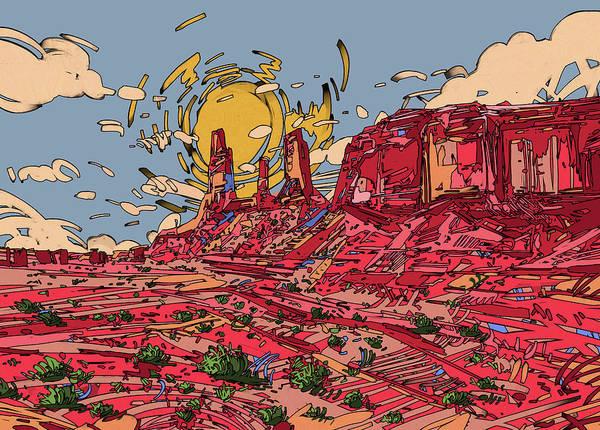 Southwest Digital Art - Desert Sun 2 by Bekim M