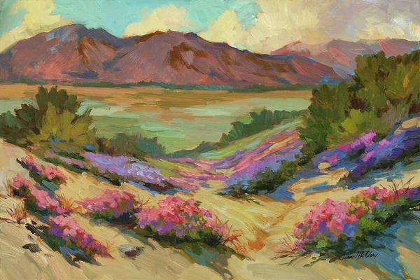 Sand Dune Painting - Desert Verbena At Borrego Springs by Diane McClary