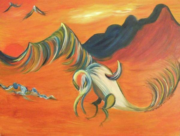 Leclair Painting - Desert Vulture by Suzanne  Marie Leclair