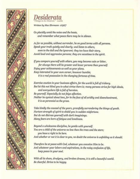 Poems Wall Art - Digital Art - Desiderata 1 by Desiderata Gallery