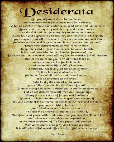 Wall Art - Digital Art - Desiderata - Antique Parchment by Ginny Gaura