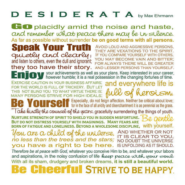 Wall Art - Digital Art - Desiderata - Earthtones - Square Format by Ginny Gaura