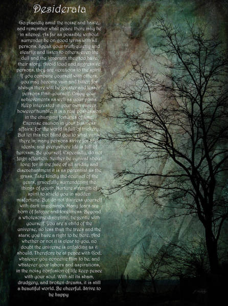 Photograph - Desiderata Of Happiness - Vintage Art By Jordan Blackstone by Jordan Blackstone