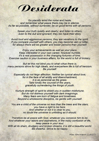 Poems Photograph - Desiderata - Paper by Steve Harrington