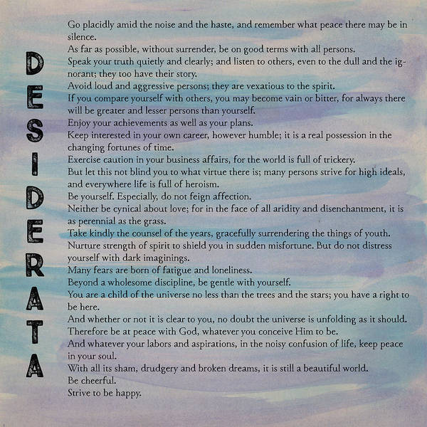 Photograph - Desiderata Watercolour by Clare Bambers