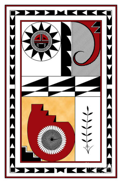 Wall Art - Digital Art - Southwest Collection - Design Five In Red by Tim Hightower
