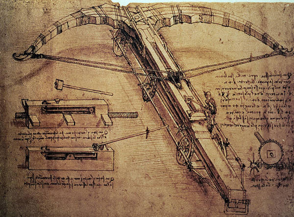 Worker Painting - Design For A Giant Crossbow by Leonardo Da Vinci