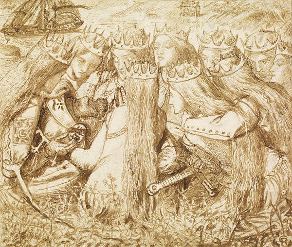 Drawing - Design For Moxon's Tennyson - King Arthur And The Weeping Queens by Dante Gabriel Rossetti
