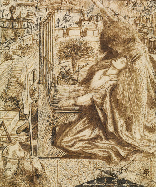 Photograph - Design For Moxon's Tennyson - Saint Cecilia by Dante Gabriel Rossetti