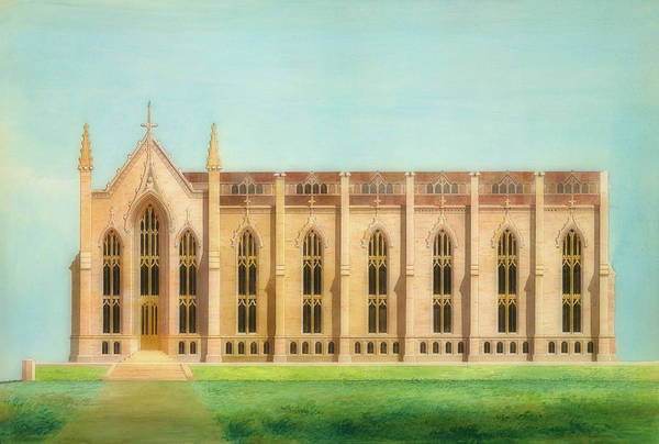 College Campus Painting - Design For The North Wing Of The Library And Chapel At The Unive by Alexander Davis