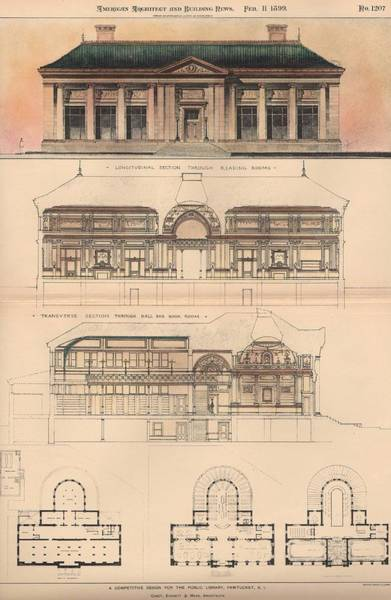 Research Painting - Design For The Public Library. Pawtucket Ri. 1899 by Cabot and Everett and Mead