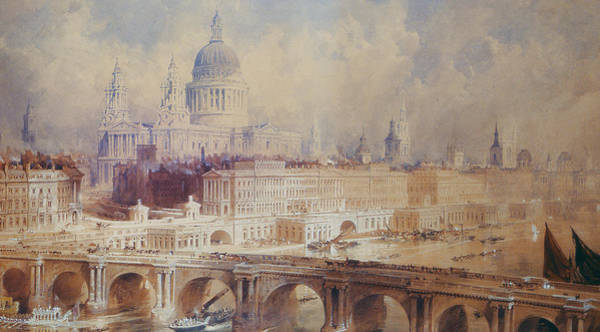 Traffic Painting - Design For The Thames Embankment, View Looking Downstream by Thomas Allom
